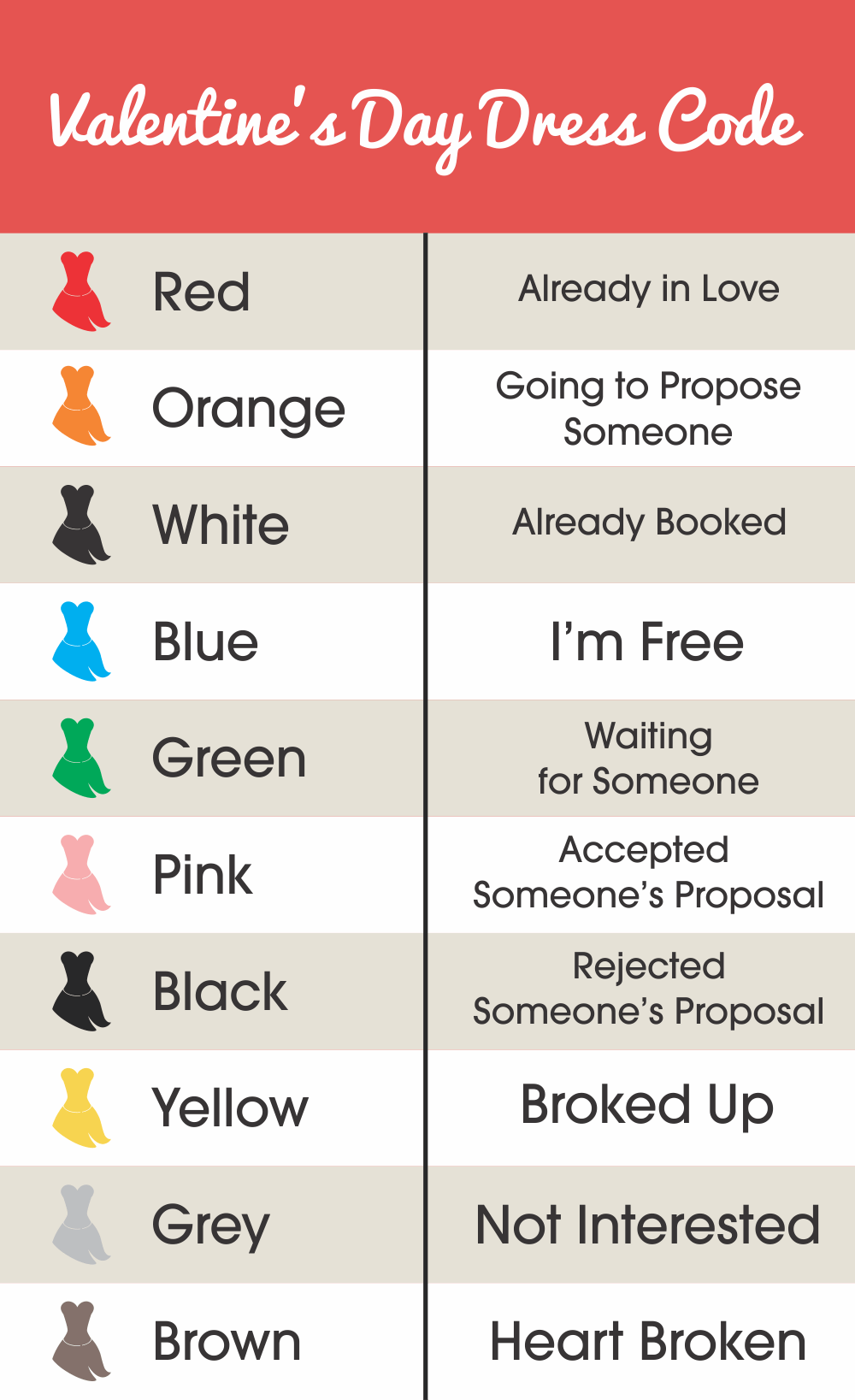 a key that indicates which colors of clothing represent romantic feelings for Valentines Day